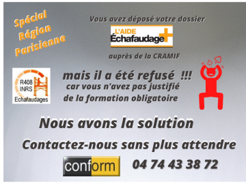 !!! Spécial Ile de France !!!! Formation R408 (Aide Echafaudage +)