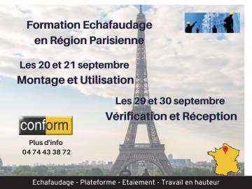 Formations montage et réception d'échafaudages en Région Parisienne