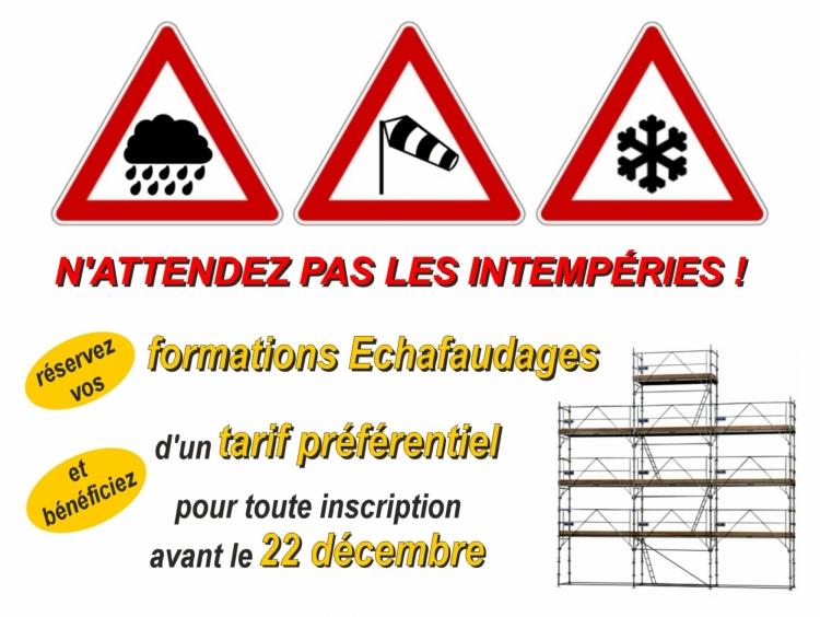 Formations Montage et Vérification des échafaudages - Janvier 2018