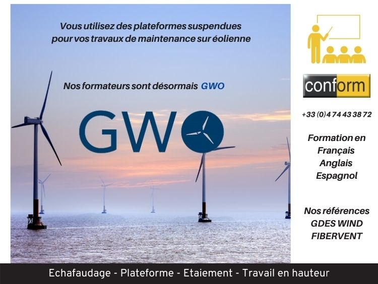 Formation montage, vérification et utilisation des plateformes suspendues sur éolienne