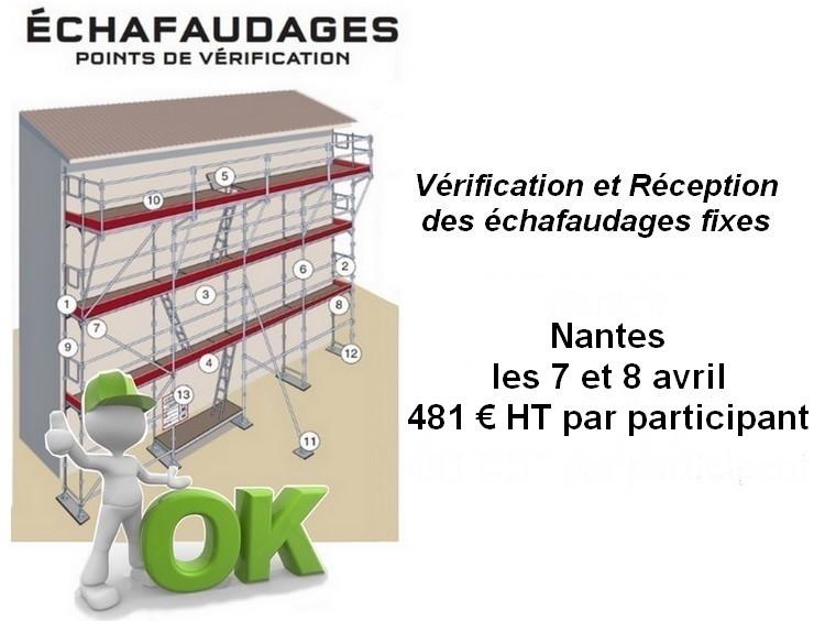 Formation Vérification et Réception des échafaudages en Région Nantaise